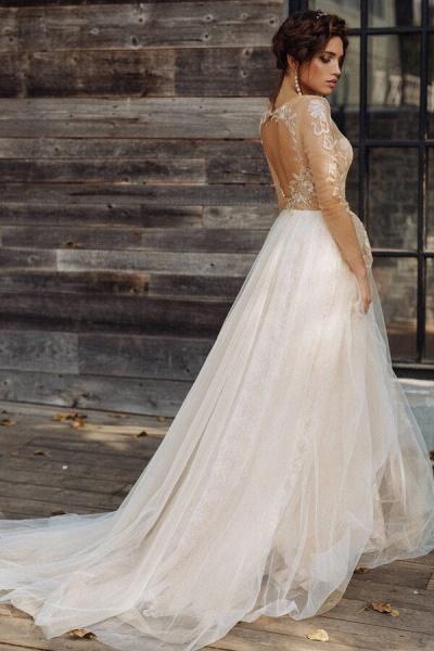 Elegant Long Sleeve Tulle Appliques Wedding Dress_3