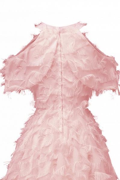 Elegant High neck Artifical Feather A-line Vintage Cocktail Dresses | Retro A-line Burgundy Homecoming Dress_10
