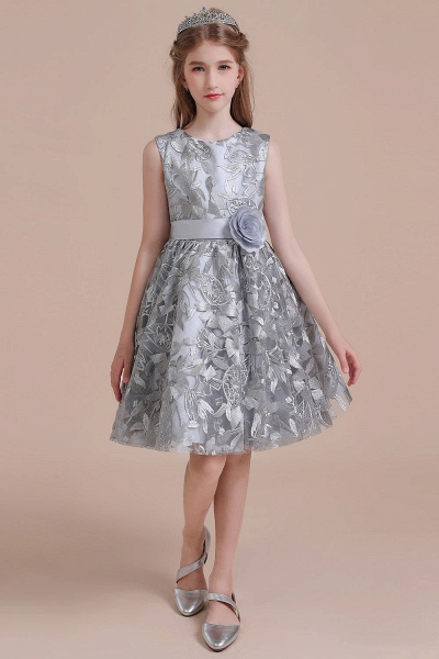 Chic Bow A-line Tulle Flower Girl Dress_1
