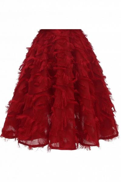 High neck Elegant Crew Neck Artificial Feather Dress Burgundy Princess Midi Dresses_14