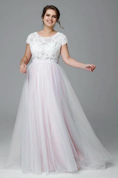 Plus Size Short Sleeve Lace Tulle Wedding Dress_4