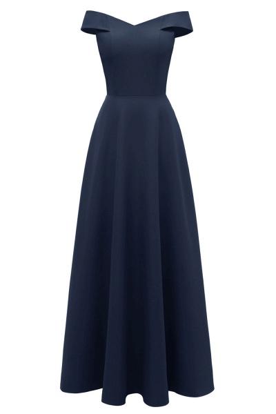 Women Simple Off-the-shoulder Bridesmaid Party Dress Long Burgundy Dress_19