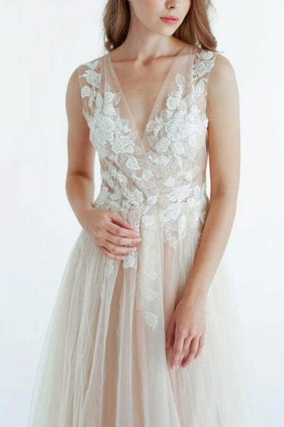 Latest V-neck Tulle A-line Wedding Dress_6