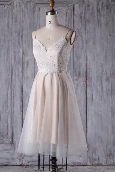 Spaghetti Strap Lace Tulle Short Wedding Dress_4