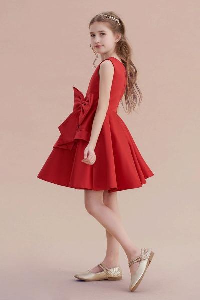Chic Bow Satin Knee Length Flower Girl Dress_7