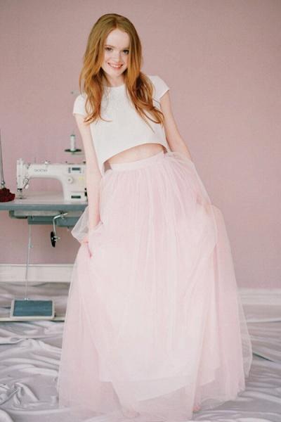 Latest Short Sleeve Tulle Two Piece Wedding Dress_1