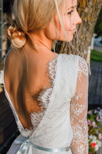 V-neck Long Sleeve A-line Lace Short Wedding Dress_5