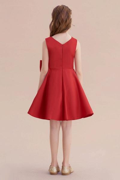 Chic Bow Satin Knee Length Flower Girl Dress_3