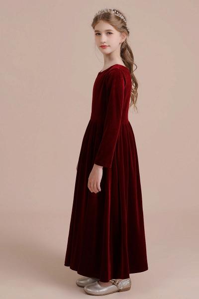 Long Sleeve A-line Velvet Flower Girl Dress_4
