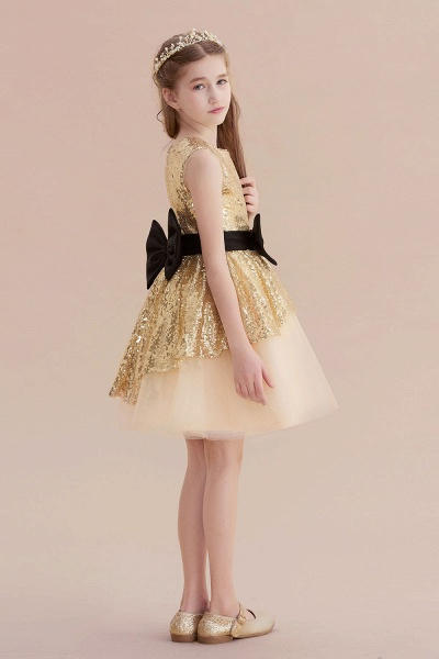 Tulle Sequins Bows Knee Length Flower Girl Dress_7