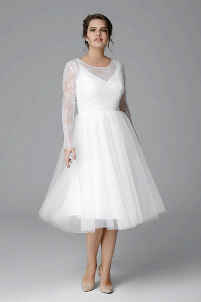Plus Size Long Sleeve Lace Tulle Wedding Dress_1