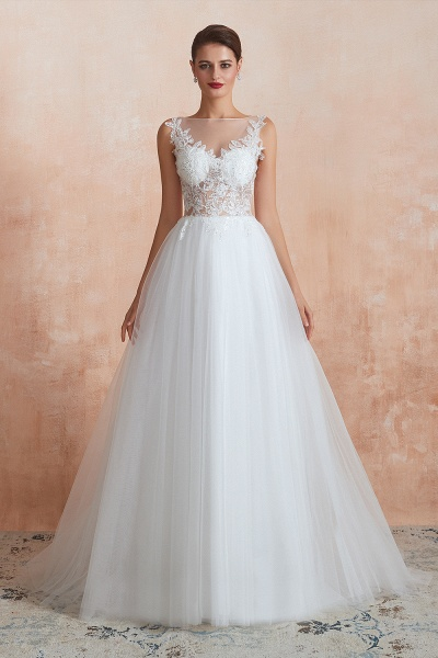 Graceful Sequins Tulle A-line Wedding Dress_1