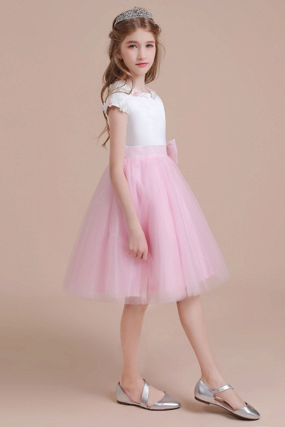 Cap Sleeve Tulle Knee Length Flower Girl Dress_6