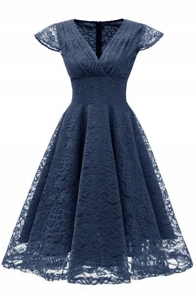 Retro Lace Cap Sleeves Dress Elegant Cocktail Party V-neck A Line Vintage Dress_3