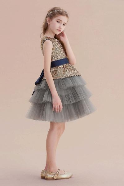Sequins Tulle A-line Knee Length Flower Girl Dress_5