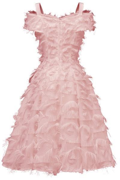 Artificial Fur Cap Sleeve Princess Short Homecoming Dress   A-line Burgundy Cocktail Dresses_8