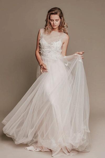 Eye-catching Beading Tulle A-line Wedding Dress_4