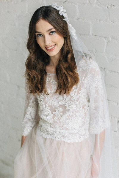 Eye-catching Lace Tulle Two Piece Wedding Dress_6