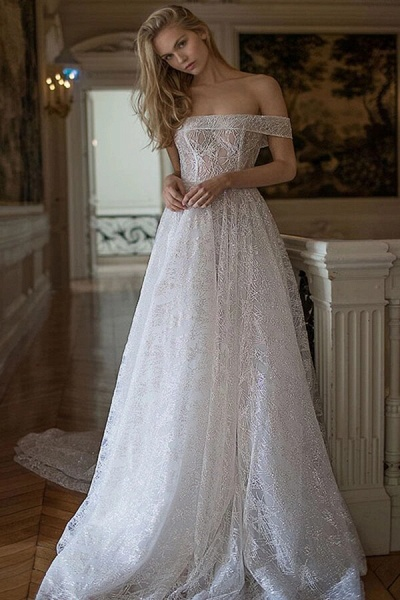 Amazing Off-the-Shoulder A-line Wedding Dress_1