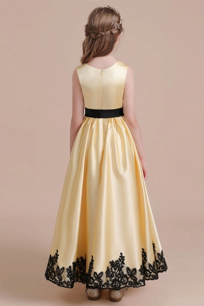 Chic Bow Appliques Satin A-line Flower Girl Dress_8