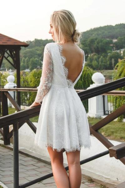 V-neck Long Sleeve A-line Lace Short Wedding Dress_3