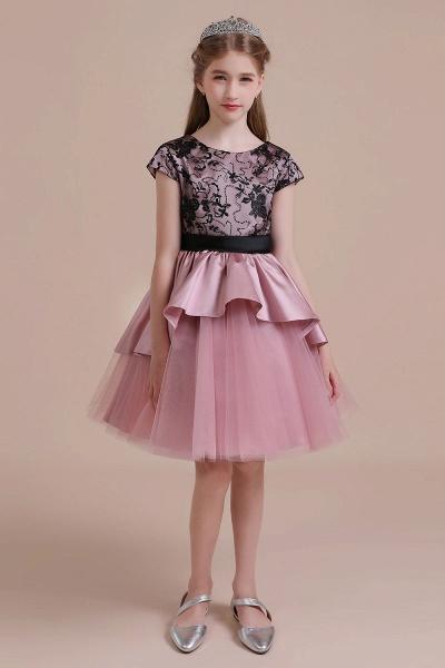 Cap Sleeve Lace Tulle Knee Length Flower Girl Dress_4