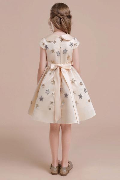 Cap Sleeve Star Sequins Tulle Flower Girl Dress_3
