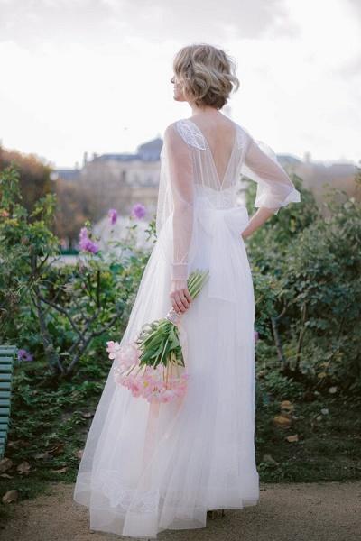 Latest Long Sleeve Tulle Floor Length Wedding Dress_4