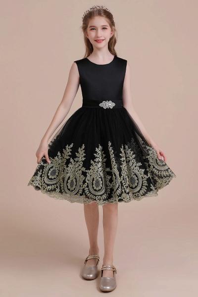 Appliques Satin Tulle A-line Flower Girl Dress_1