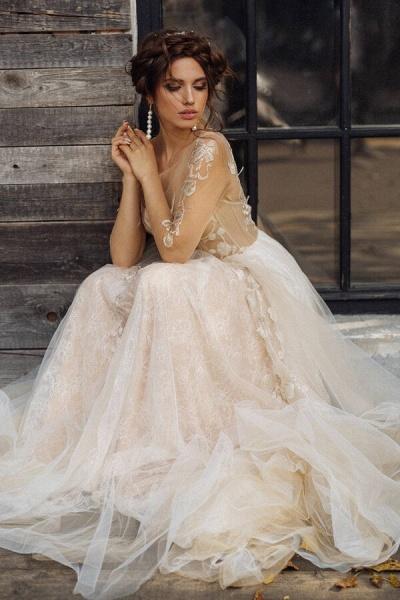 Elegant Long Sleeve Tulle Appliques Wedding Dress_4