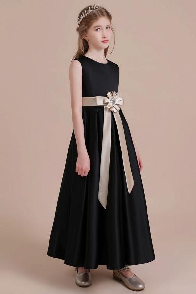Elegant A-line Satin Flower Girl Dress_5