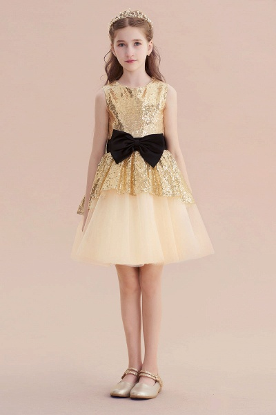 Tulle Sequins Bows Knee Length Flower Girl Dress_4