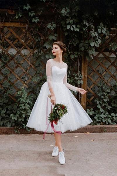 Illusion Long Sleeve Tulle A-line Wedding Dress_1