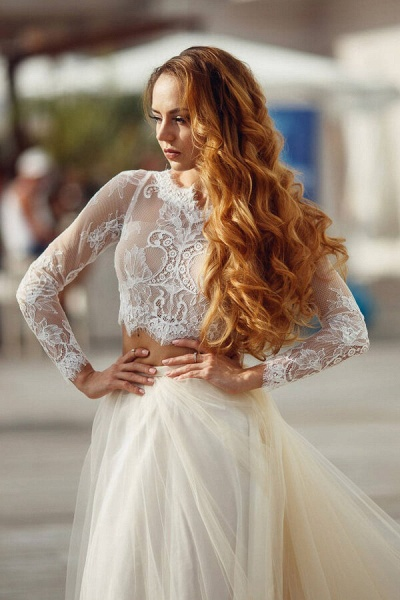 Long Sleeve Lace Tulle Two Piece Wedding Dress_7