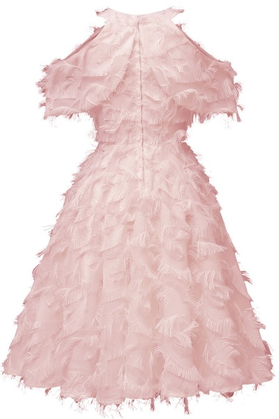 Elegant High neck Artifical Feather A-line Vintage Cocktail Dresses | Retro A-line Burgundy Homecoming Dress_8