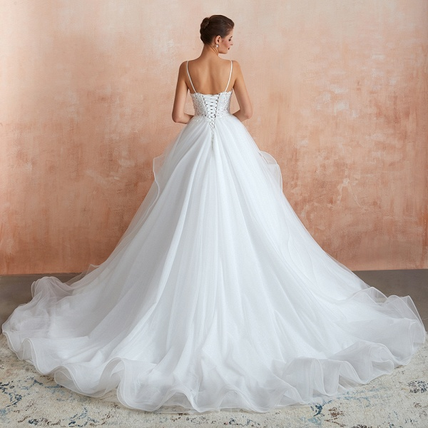 Glorious Appliques Tulle A-line Wedding Dress_3