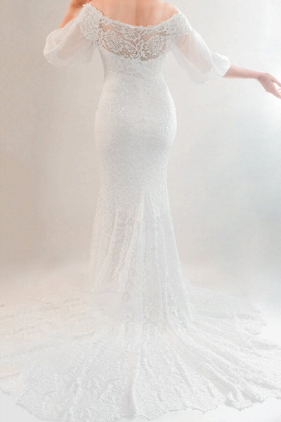 Awesome Off Shoulder Mermaid Lace Wedding Dress_3