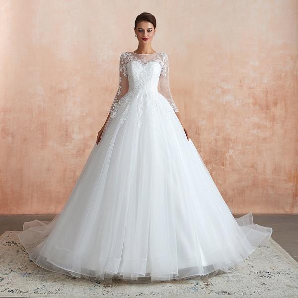 Wonderful Appliques Tulle A-line Wedding Dress_6