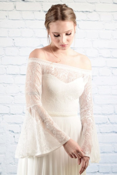Off-the-shoulder Lace Chiffon A-line Wedding Dress_9