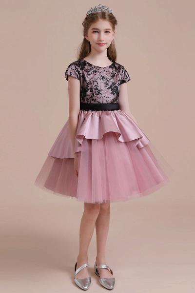 Cap Sleeve Lace Tulle Knee Length Flower Girl Dress_1