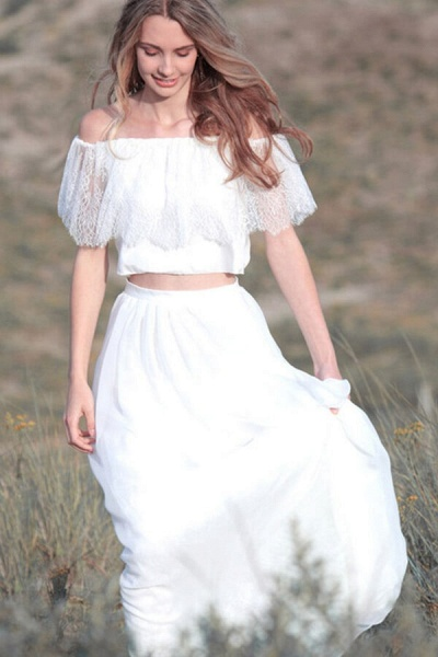 Off Shoulder Lace Chiffon Two Piece Wedding Dress_1