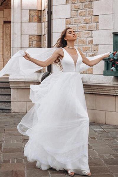 Elegant Sequins Chiffon Tulle A-line Wedding Dress_1