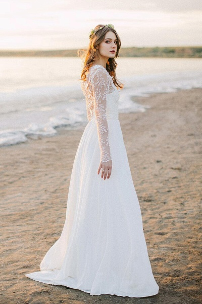 Awesome Long Sleeve Appliques Chiffon Wedding Dress_4