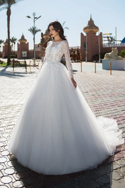 Lace-up Long Sleeve Tulle Ball Gown Wedding Dress_1