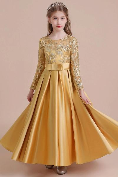 Long Sleeve Satin Ankle Length Flower Girl Dress_1