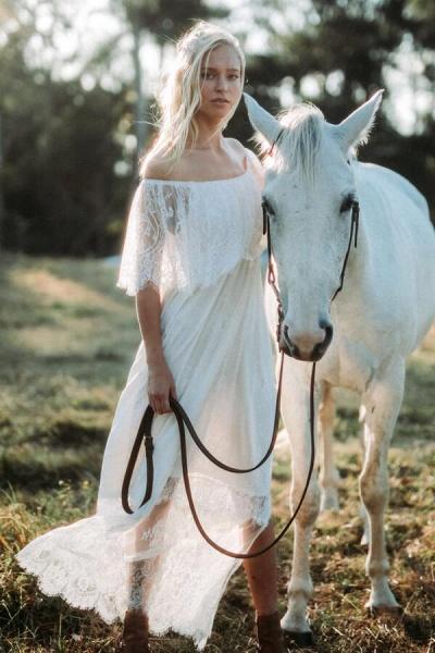 Off-the-shoulder Lace Floor Length Wedding Dress_3