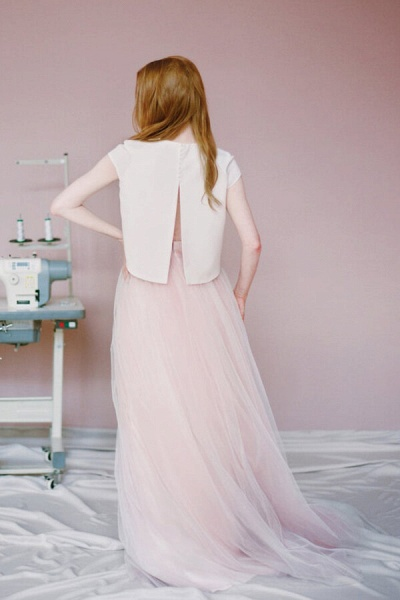 Latest Short Sleeve Tulle Two Piece Wedding Dress_3