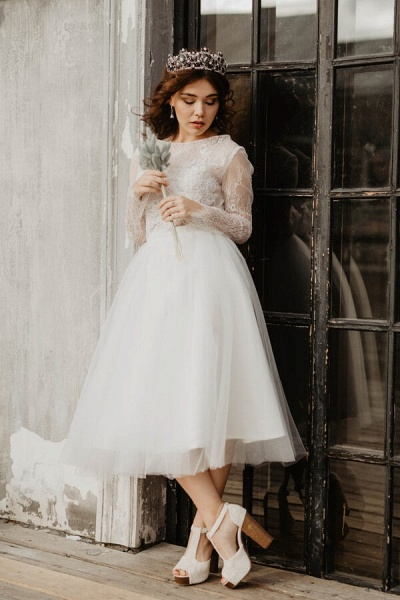 Chic Long Sleeve Lace Tulle A-line Wedding Dress_3