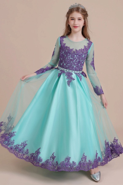 Chic Long Sleeve Appliques A-line Flower Girl Dress_9