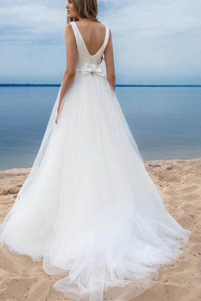 Chapel Train Satin Tulle A-line Wedding Dress_3